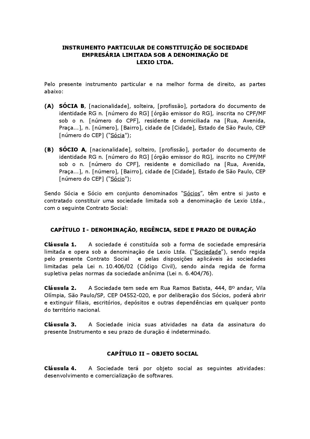 Contrato Social De Limitada Ltda Modelo Baixar Word E