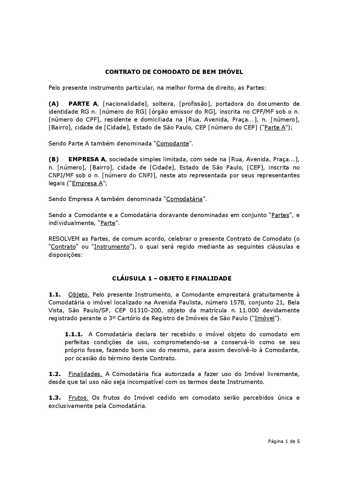 Contrato De Comodato De Imóvel Modelo Baixar Em Word E