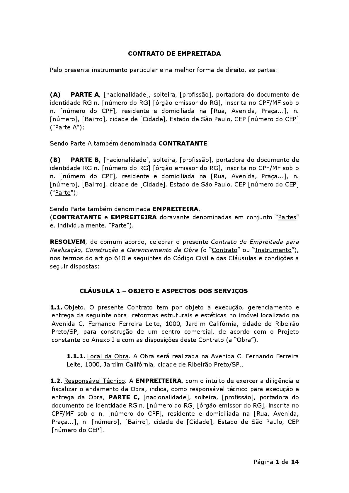 Contrato De Empreitada Modelo Exemplo Baixar Em Word