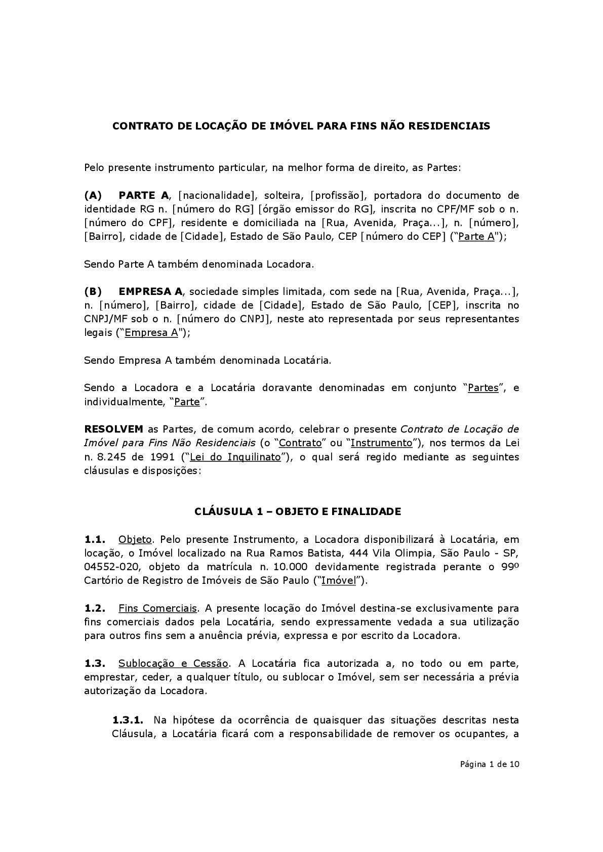Contrato De Locação Comercial Modelo Baixar Em Word E