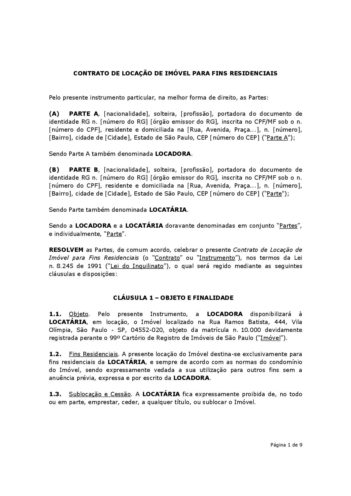 Contrato De Locação Residencial Modelo Baixar Em Word E